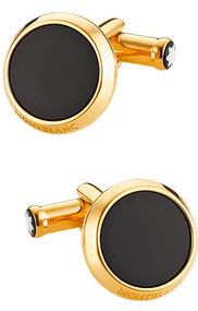 Montblanc Iconic Yellow Gold PVD Black Onyx Inlay RD Cuff Links 112902
