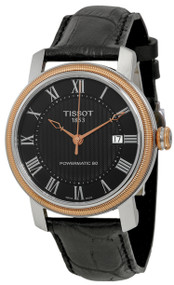 Tissot Bridgeport Powermatic 80 Black Leather Men Watch T0974072605300