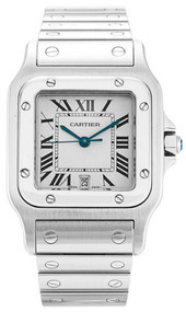 Cartier W20060D6 Santos Squared White Dial Quartz Men's Steel Watch