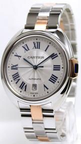 Cartier W2CL0002 Cle Silver Dial Auto Men's 18K Rose Gold Steel Watch