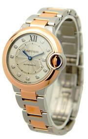 Cartier W3BB0006 Ballon Bleu Silver Dial 11 Diamonds Women Steel Watch