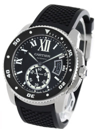 Cartier Calibre Diver Black Dial Auto Black Rubber Men Watch WSCA0006