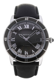 Cartier Ronde Croisiere Gray Dial Leather Auto Men  Watch WSRN0003