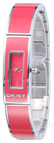 DKNY Pink Coral Enamel  Steel Bangle Women's Watch NY8758