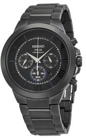 Seiko SSC287 Solar Recraft Chronograph Date Black Dial Men Steel Watch