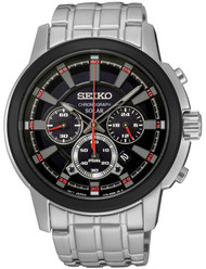 Seiko SSC389 Solar Core Chronograph Date Black Dial Men Steel Watch