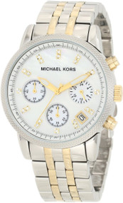 Michael Kors MK5057 Ritz Women's Two-tone Chronograph Authentic Watch