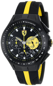 Ferrari 830025 Race Day Chronograph 44MM Men's Black Rubber Watch