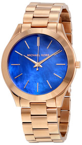 Michael Kors MK3494 Slim Runway Blue Dial Women's Rosegold Steel Watch