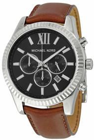 michael kors mens watches discount mk men watches michael kors michael kors mk8456 lexington black dial brown leather men s watch