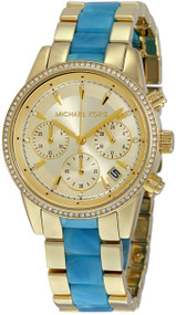 Michael Kors MK6328 Ritz Gold-tone and Blue Acetate Women's Watch