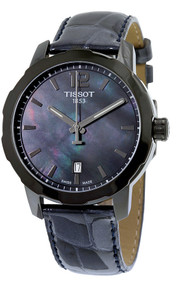 Tissot Quickster Black MOP Dial Leather Unisex Watch T0954103612700