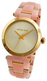 Michael Kors Delray Gold-Tone Dial Pink Acetate MK4316 Women's Watch