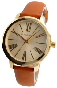 Michael Kors Hartman Gold Tone Steel MK2521 Women Brown Leather Watch