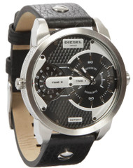 Diesel Mini Daddy Dual Time Black Leather Quartz Men's Watch DZ7307