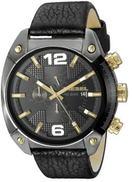 Diesel Overflow Chronograph Black Dial Black Leather Men Watch DZ4375
