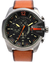 Diesel Mega Chief Chronograph Black Ion PVD Leather Men Watch DZ4343