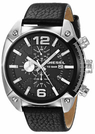 Diesel Overflow Chronograph Black Dial Black Leather Men Watch DZ4341