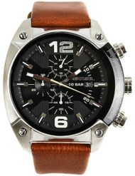 Diesel Overflow Chronograph Black Dial Brown Leather Men Watch DZ4296