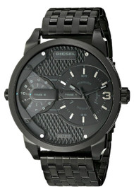 Diesel Mini Daddy Dual Time Black Steel Quartz Men's Watch DZ7316