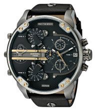 Diesel Mr Daddy 2.0 Chronograph Black Leather Quartz Men Watch DZ7348