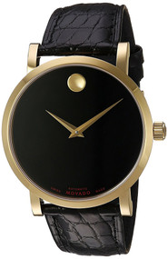 Movado Red Label Gold PVD Exhibition Back Automatic Men Watch 0607007