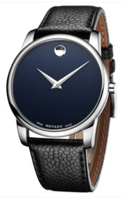 Movado Museum Blue Dial Black Leather Band Quartz Men's Watch 0607013