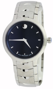 Movado Luno Blue Dial Index Marker Integrated Links Men Watch 0607042