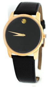 Movado Museum Classic Rose Gold PVD SS Black Leather Men Watch 0607060