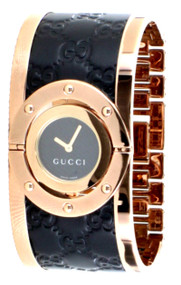 Gucci Twirl LG Pink Gold PVD Guccissima Leather Women Watch YA112438