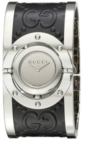 Gucci Twirl LG Mirror Dial BLK Guccissima Leather Women Watch YA112441