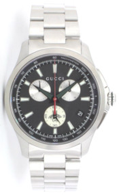 Gucci G Timeless Chronograph XL Black Dial 44MM SS Men Watch YA126267