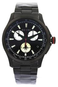 Gucci G Timeless Chronograph XL Black PVD SS 44MM Men's Watch YA126268