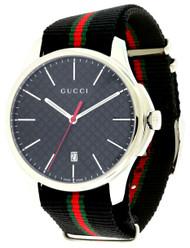 Gucci G Timeless LG Slim Black DIA Dial Nylon Band Men Watch YA126321