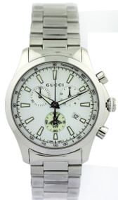 Gucci G Timeless Mid Chronograph White Dial SS Unisex Watch YA126472