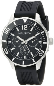 Nautica Active Multifunction Black Rubber Band Unisex Watch N14654M