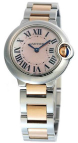 Cartier Ballon Bleu MOP Steel and 18kt Rose Gold Women Watch W2BB0009