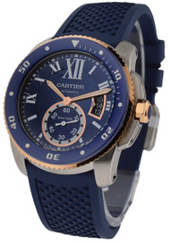 Cartier Calibre Diver Blue Rubber Band Automatic Men Watch W2CA0009