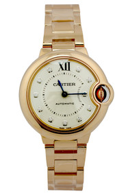 Cartier Ballon Bleu Silver Dial 18k Pink Gold DIA Women Watch WE902062