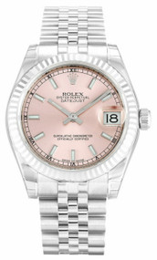 Rolex DateJust 31 Pink Dial Index Fluted Jubilee Women's Watch 178274