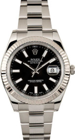 Rolex DateJust II 41 BLK DI Index Fluted Oyster Link Men Watch 116334