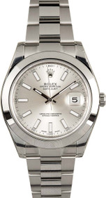 Rolex Datejust II Silver DI Index Smooth Oyster Links Men Watch 116300