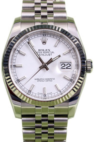 Rolex DateJust 36 Ivory Dial Index Fluted Jubilee Unisex Watch 116234