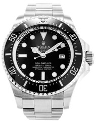 Rolex Sea Dweller Deepsea 44 BLK Dot SS Oyster Links Men Watch 116660