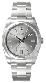 Rolex Oyster Perpetual 36 Gray Dial Index Domed Bezel Men Watch 116000