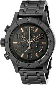 Nixon 38-20 Chronograph 38MM Black Steel Quartz Women Watch A404957-00