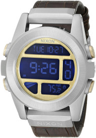 Nixon Unit Steel Brown Leather 44MM Digital LCD Men Watch A9461887-00