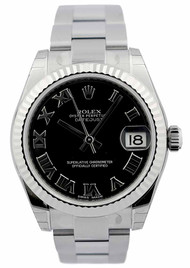 Rolex DateJust 31 Black Dial Roman Fluted Oyster Women's Watch 178274