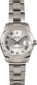 Rolex DateJust 31 Silver Dial Roman Fluted Oyster Women's Watch 178274