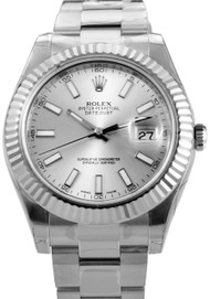 Rolex DateJust II 41 SIL DI Index Fluted Oyster Links Men Watch 116334